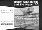 Inserat der «Briket-Umschlags und Transport AG» in der Zeitschrift «Strom und See» 1964