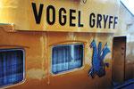 Der Schriftzug und das «Vogel Gryff-Bild» des starken Schleppers «Vogel Griff«, 1980