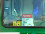 Hinweisschild im Trammotorwagen Be 4/4 Nr.659, September 2016