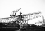 Der Kran der Rheinische Güterumschlags AG schüttet Kohle in die in der Fahrbahn integrierte Verteil-Anlage, 1980