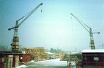 Der grosse Werkhof des Baugeschäftes der Gebr.Stamm in Allschwil, 1975