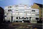 Der markante Rundbau der Firma Cliché-Schwitter an der Allschwilerstrasse, 1975