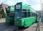 Die Trammotorwagen Be 4/6 Nr.664 und Nr.659 vor dem Depot Dreispitz September 2016