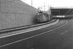 Tramzug Be 4/4 der Linie 14 in der neuen Unterführung zum Stadion St.Jakob, 1969