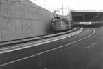 Ein Tramzug der Serie Be 4/4 der Linie 14 in der neuen Unterführung zum Stadion St.Jakob, 1969
