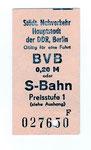 BVB ? - Fahrkarte für die S-Bahn in Berlin. BVB = Berliner Verkehrs Betriebe DDR, 1974