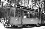 Der Trammotorwagen Be 2/2 Nr 161 in der Abstellanlage Eglisee, 1972