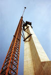Der Bau des neuen Fernsehturmes auf St.Chrischona (höchstes Gebäude der Schweiz!), 1982