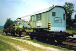 Ein Eisenbahnkran der Kanderbahn (Eurovapor) im Bahnhof Wollbach im Jahre 1980
