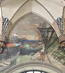 Hauptpost Basel mit dem Wandbild «Der Rheinhafen im Jahr 1916», Foto Juni 2021