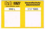 Das erste sogenannte «Umweltschutz-Abonnement» von 1985 der BVB und BLT