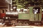 Die schöne Dampflokomotive «G.Thommen» Nr.5 nun wieder in Betrieb auf der Waldenburger-Bahn im Jahre1985