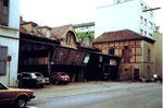 Der Garten und der Schuppen des Restaurant Amerbach an der Hammerstrasse 1977