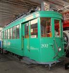 Der Trammotorwagen Be 2/2 Nr.202 im Verkehrshaus der Schweiz in Luzern, 2015 (siehe zum Vergleich dazu vorangehende Fotos Nr.185 und 186)