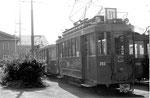 Der Trammotorwagen Be 2/2 Nr.202 der Linie 11 beim Abstellplatz vor dem Depot Dreispitz, 1970. Dieser Motorwagen wurde 1971 an das Verkehrshaus der Schweiz in Luzern übergeben. (siehe nachfolgende Fotos Nr.193- 202)