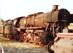 Die Dampflokomotive 050 0413-4 auf dem Gelände des Bahnbetriebswerks Haltingen, 1975