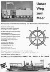 Inserat der «Ausstellung Unser weg zum Meer» von der Schweizerischen Reederei in der Zeitschrift «Strom und See» 1964