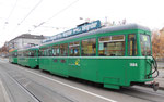 Zwei B4-Anhängewagen Nr.1484 und Nr.1490 mit dem Trammotorwagen Be 4/4 Nr.478 an der Haltestelle Dreirosenbrücke, 2016