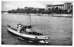 Ansichtskarte Basel. Kaserne u. Personenschiff Rheinfelden (Verlag Beringer & Pampaluchi Zürich)