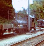 Die Dampflokomitive der VON ROLL in Choindez während des Rangierens 1995