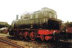 Die Dampflokomotive der Brauerei Meyer «Riegeler Bier» im Bahnhof Riegel, 1975