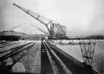 Der St.Johann-Hafen 1913. Die ersten Krananlagen. Im Vordergrund ein Kran der SPEDAG Baujahr 1907. 1984 leider verschrottet