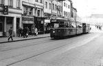 Tramzug Be 4/6 Nr. 618 DÜWAG auf der Linie 6 in der Greifengasse, 1969  (DÜWAG = DÜsseldorf WAGgon) Dank einem positiven Ausgang in einer Volksabstimmung wurden die DÜWAG-Trammotorwagen angeschafft!