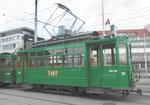 Betriebstag 50 Jahre Tramclub Basel: Der Trammotorwagen Be 2/2 Nr.156 «Zum Sod« auf dem Depot-Vorplatz-Areal, Juni 2018