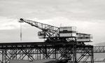 Die beiden markanten und weither sichtbaren Krans der Birsterminal AG (früher Birs Kohlelager AG) beim Birsfelder Hafen, 1975