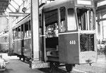 Der Trammotorwagen Be 4/4 Nr. 446 in der BVB-Werkstätte zur Revision, 1969