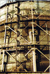 Der letzte Gaskessel mit Baujahr 1912 in der Fabrikstrasse, 1975