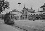 Der Trammotorwagen Be 2/2 Nr.56 der Lörracher Linie 6 vor dem Bahnhof in Lörrach, 1960