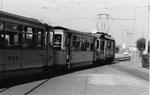 Ein Tramzug der BEB (Bisseck-Bahn) die Haltestelle Dreispitz verlassend, 1969