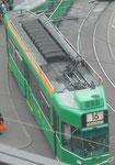 Blick «aufs Dach» des Trammotorwagens Be 4/4 Nr. 590 der Linie 16, Mai 2017