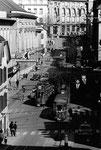 Dichter Tram-Verkehr am Steinenberg, wie er im Jahre 1969 üblich war