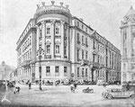 Die Handelsbank Basel, rechts das Gebäude der Kreditanstalt (Zeichnung aus dem Heft LUFTSCHUTZ-AUSSTELLUNG 13.-22-März 1936 Mustermesse Basel (im Besitz von Paul Bachmann)
