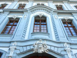 Die Fassade des «Weissen Hauses« am Rheinsprung. erbaut 1763 bis 1775 für die Brüder Lukas und Jakob Sarasin. Die Entwürfe stammten von dem Architekten und Baumeister Samuel Werenfels