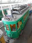 Dachansicht des Trammotorwagens Be 2/2 Nr.202 im Verkehrshaus in Luzern, 2015 (siehe zum Vergleich dazu vorangehende Fotos Nr.185 und 186)