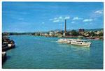 Ansichtskarte 2192 Basel mit Rheinschiff (Verlag A.Kiener Schwanden GL)