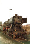 Die grosse Güter-Dampflokomotive BR 051 858-9 im Bahnbertriebswerk Haltngen, 1970