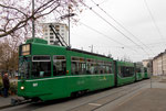 Trammotorwagen Be 4/6 Nr.667 die Haltestelle Kannenfeldplatz anfahrend, 2016
