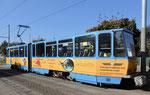 Ein Trammotorwagen der «Thüringer Waldbahn« auf der fahrt nach Gotha, Oktober 2018