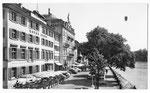 Ansichtskarte Basel. Unterer Rheinweg Hotels Hecht und Krafft (Rud.Suter Oberrieden ZCH)