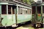 Die Trammotorwagen Be 2/3 Nr. 301 und Be 2/2 Nr. 215 in der Abstellanlage Eglise,e 1972