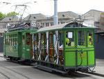 Hundert Jahre Tram nach St.Jakob. Motorwagen Be 2/2 Nr.156 und der Sommerwagen C2 Nr.281 auf der Linie 22 die Haltestelle St.Jakob verlassend, 2016