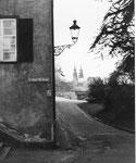 Ein schönes Foto des Fotografen Franz Bachmann: Das St.Alban-Tal mit Blick gegen das Basler Münster, 1959