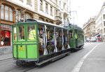 Hundert Jahre Tram nach St.Jakob. Motorwagen Be 2/2 Nr.156 und der Sommerwagen C2 Nr.281 auf der Linie 22 Richtung Marktplatz fahrend, 2016