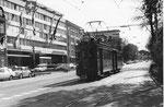 Tramzug mit Be 2/2 Nr.154 auf der Linie 24 am Aeschengraben, die Haltestelle Aschenplatz anfahrend 1969
