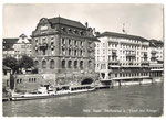 Ansichtskarte 560b Basel. Schiffstation u.Hotel drei Könige (Photo u.Verlag Hans Frey Basel)