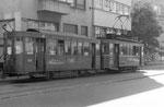 Ein Tramzug der Serie Be 2/2 auf der Linie 12 an der Endhaltestelle Schifflände, 1969